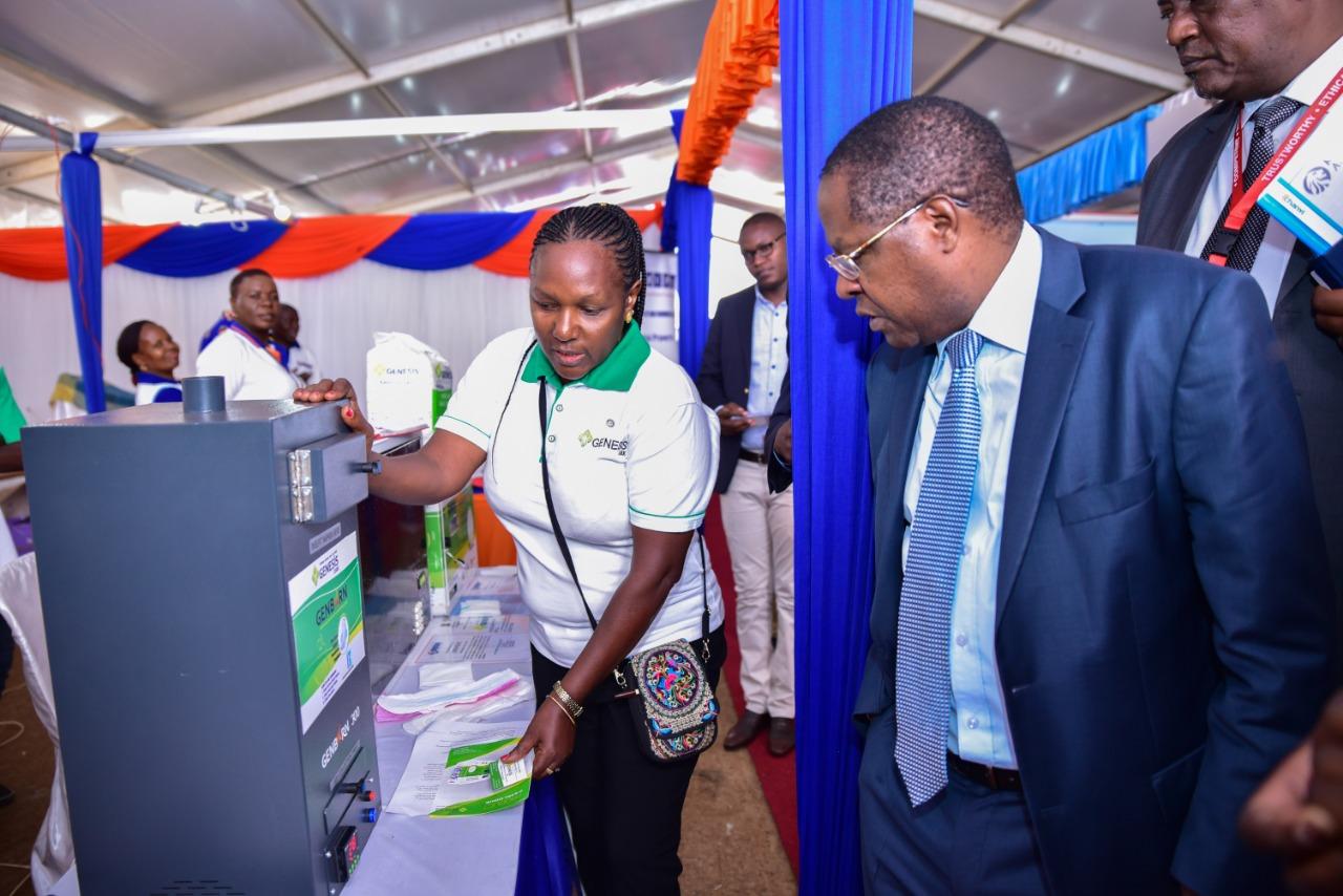 Matiangi visits Genesis Stand at KAM show Kasarani